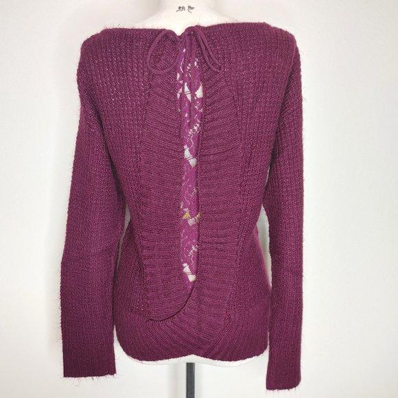 Knox Rose Purple Open Back Lace Sweater